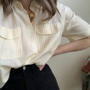 Vintage Tops - Striped Pocket Blouse Button Up